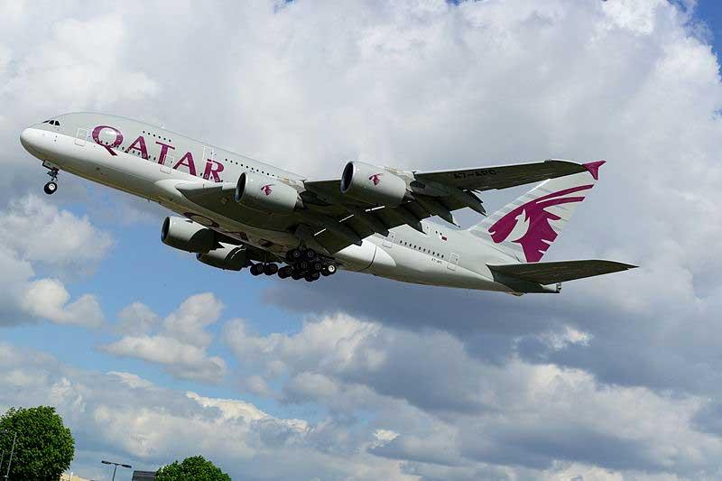 Qatar plane in flight