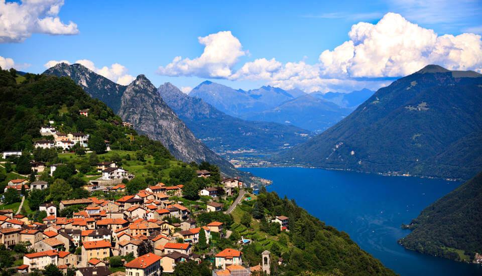 Lugano city lying on the lake Lugano