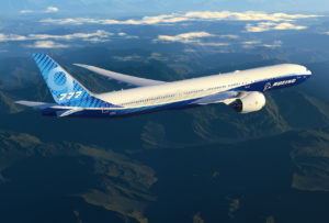 Boeing 777X in the sky
